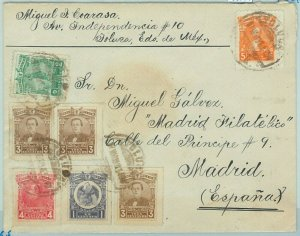 68771 - MEXICO  - Postal History -  5 Colour franking on COVER  to SPAIN - 1916