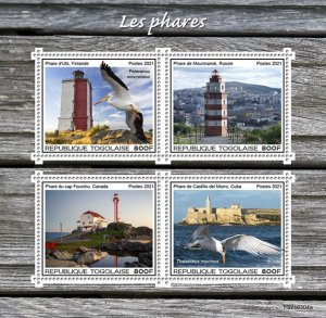 TOGO - 2021 - Lighthouses - Perf 4v Sheet - Mint Never Hinged