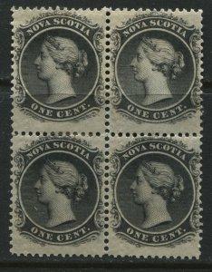 Nova Scotia QV 1860 1 cent mint o.g. hinged block of 4