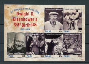 Palau 2015 MNH Dwight D Eisenhower 125th Birthday 34th US President 6v MS Stamps