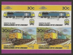 St. Vincent Grenadines - Union Islands Train #25 IMPERF Proof BLOCK VF-NH