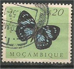 MOZAMBIQUE, 1953, used 20c, Butterflies Scott 366