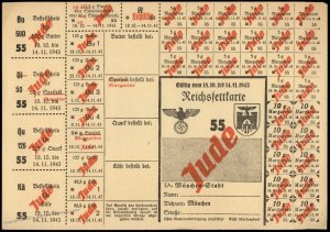 3rd Reich Germany 1943 Munich Butter and Lard Ration Card for Jewish Perso 96261