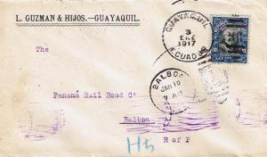 Ecuador 10c Moreno 1917 Guayaquil, Ecuador to Balboa, Canal Zone.