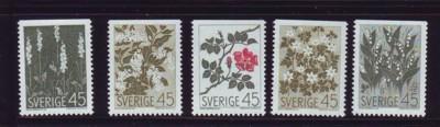 Sweden Sc 782-86 1968 Nordic Flowers stamp set mint NH