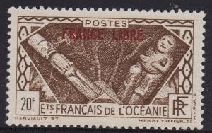 FRENCH OCEANIC SETTLEMENTS 1941 FRANCE LIBRE ON 20FR TOP VALUE