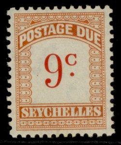 SEYCHELLES GVI SG D4, 9c scarlet & orange, M MINT.