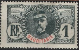 Mauritania #1 (mh, ink on back) 1c Louis Faidherbe, sl (1906)