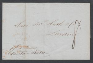 US, 1845 Stampless, NEW ORLEANS-LONDON, via Bech & Kunhardt Forwarding Agents