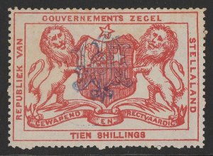 BECHUANALAND Stellaland 1886 Arms Revenue 10/- vermilion, monogram h/s inverted.