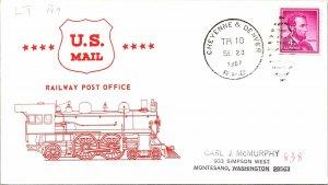 1967 Cheyenne & Denver R.P.O. Railway Post Office + Train Cachet #109