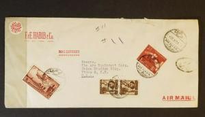 1957 Cairo Egypt to Utica New York USA F&E Habib Advertising Air Mail Cover