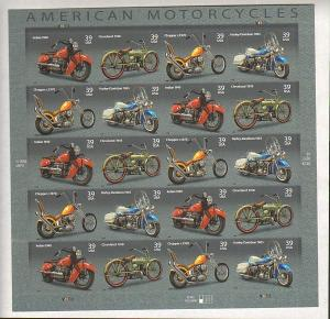 US #4085-88 Mint Sheet Motorcycles
