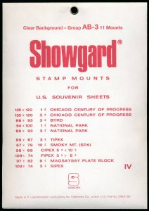 Showgard Stamp Mount Set Group AB-3 US Souvenir Sheet  CLEAR (Pack of 11) PRECUT