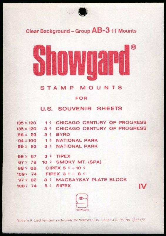 Showgard Stamp Mount Set Group AB-3 US Souvenir Sheet  CLEAR (Pack of 11) PRECUT