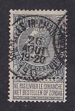 Belgium  #71   used  1897  Leopold  50c  gray