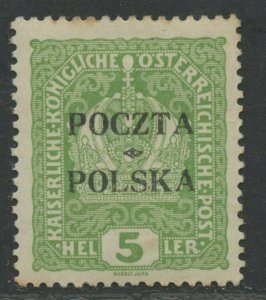 POLAND CRACOW ISSUE 5 HELLER SC# 42 MINT H SIGNED AS SHOWN CATALOGUE VALUE $625