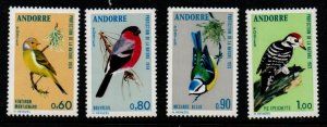 Andorra (Fr) Sc 228-31 1973-4 Birds stamp set mint NH