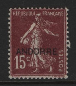 ANDORRA, 6, HINGED, 1931, STAMPS AND TYPES OF FRANCE, 1900-1929 OVERPRINTED
