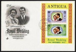 wc017 Antigua Royal Wedding 1973 souvenir sheet FDC first day cover