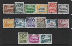 ANTIGUA SCOTT #107-121 1953-56 QEII  PICTORIALS - MINT NEVER/XXXXLIGHT  HINGED