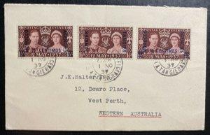 1937 Tanger Morocco British Agencies cover To Perth Australia King George Corona