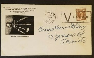1941 Toronto Canada 2 ct Brown KGVI Multi Issue Stamp Optician Advertising Cover