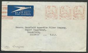 SOUTH AFRICA 1951 airmail cover to USA, 3d,6d & 1/- Springbok meters.......59177