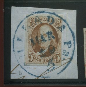 Scott 1 Franklin Imperf Used Stamp on Small Piece (Stock 1-A6)