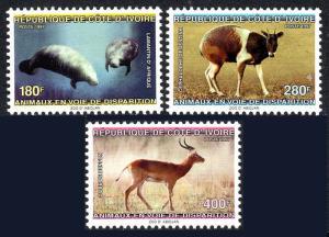 Ivory Coast 1012-1014, MNH. Endangered Species. Manatee, Duiker, Antelope, 1997