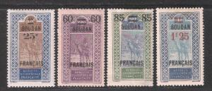 French Sudan 1922-26,4 Surcharged stamps Sc 50-51,53,56,Mint Hinged* (FC-5)