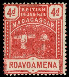 MADAGASCAR SG58, 4d rose, M MINT. Cat £14.