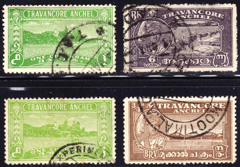 India Travancore Scott 36 x two shades, 43-44  F to VF used.