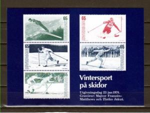 Sweden, Scott cat. 1031-1035. Skiing issue, Agency Post Card. ^