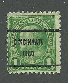 1923 USA Cincinnati. Ohio  Precancel on Scott Catalog Number 552