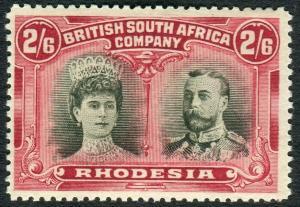 RHODESIA-1910-13 2/6 Black & Crimson.  A lightly mounted mint example Sg 155a