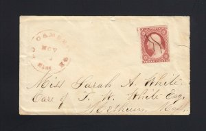 MASSACHUSETTS: North Cambridge 1856 #11 SCAR ON THROAT Plate Variety