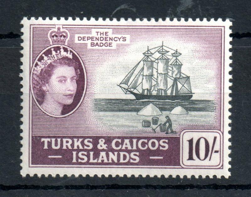 Turks & Caicos 1957 10/- mint MH SG#250 WS13124