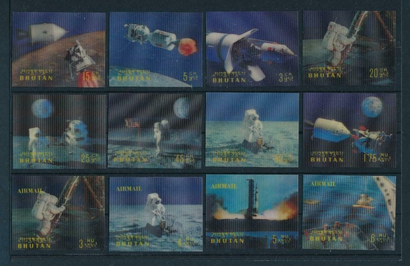 [64614] Bhutan 1969 Space travel weltraum Apollo 11 12 Values 3D stamps MNH