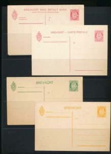 NORWAY Mi. P56-P59 (4) POSTAL STATIONERY POSTAL CARD 10o CARMINE
