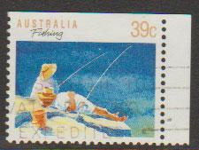 Australia SG 1179ba FU -  booklet stamp perf 13 1/2 top r...