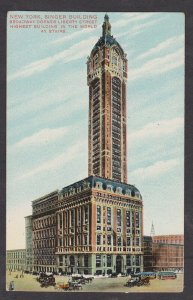 Unused Postcard: New York City – Singer Building at Broadway and Liberty