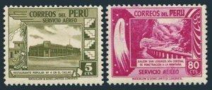 Peru C89,C92,MNH.Michel 478,481. Air Post 1949.Restaurant,Mountain road.