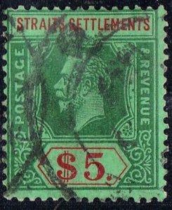 MALAYA STRAITS SETTLEMENTS 1926 KGV $5 Green & Red/Green SG240a FU