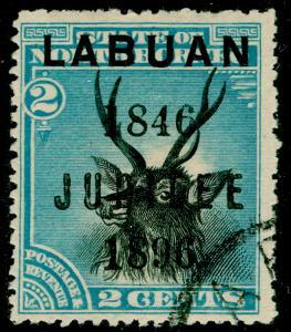 LABUAN SG84, 2c black & blue, FINE USED. Cat £35.