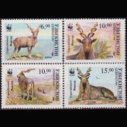 UZBEKISTAN 1995 - Scott# 64-7 WWF-Markhors Set of 4 NH