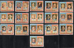 EQUATORIAL GUINEA  1975 AMERICAN PRESIDENTS SET 16  MINT  VF NH  O.G CTO  (EQ15)