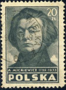 POLAND / POLEN - 1947 20Zl. A. MICKIEWICZ Mi.462A - VF Used