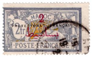 (I.B) French Morocco Postal : 2Fr on 2Fr Overprint