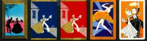 US Stamps 5 Early Dance Cards Rare Some Signed